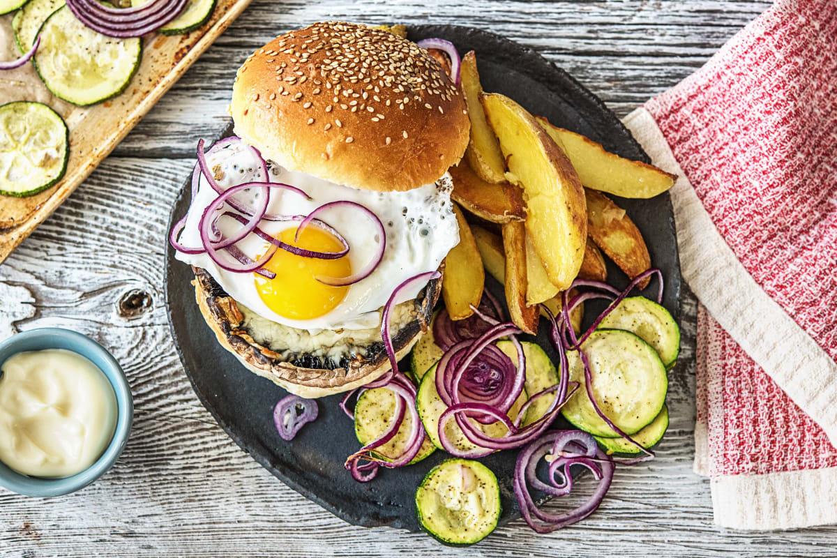 Portobelloburger met gebakken ei