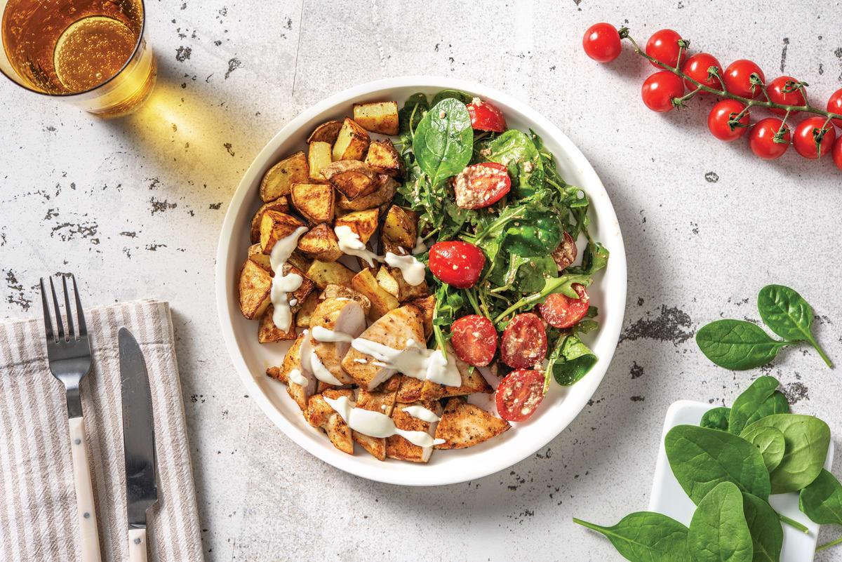 Aussie Spiced Chicken with Garlic-Herb Roasted Potatoes