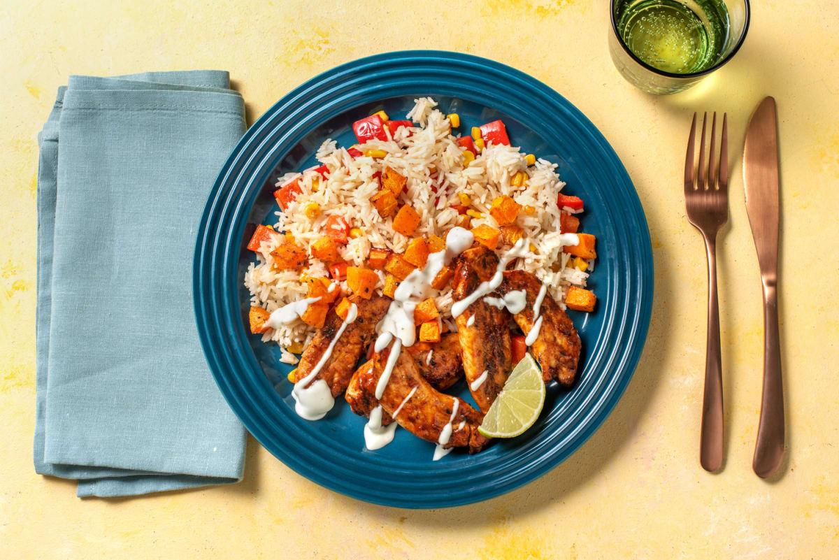 Caribbean Chicken and Confetti Rice