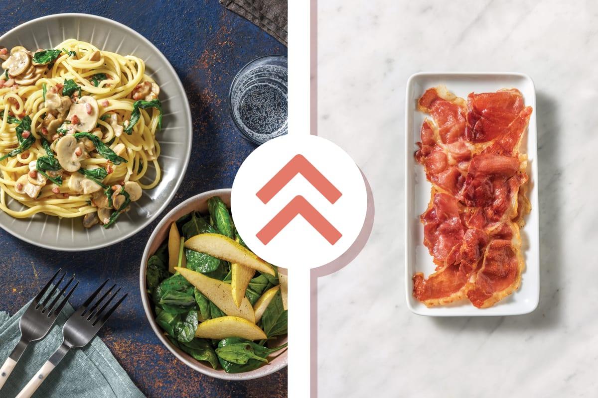 Prosciutto, Mushroom & Cheese Spaghetti