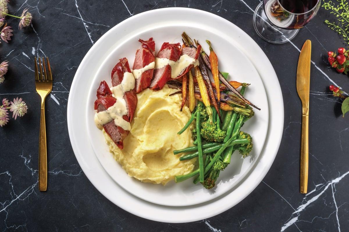 Prosciutto-Wrapped Lamb & Parmesan Mash