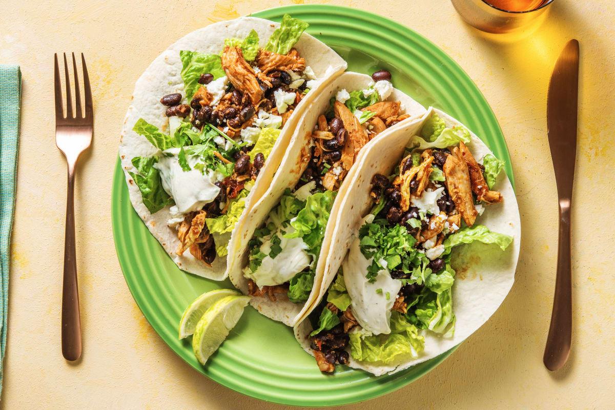 Pulled Chicken, Feta & Black Bean Tacos