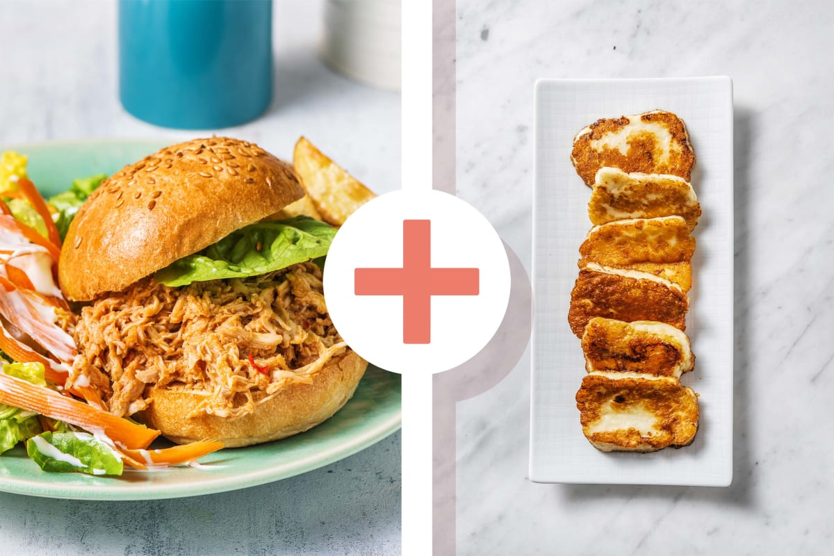 Pulled Chicken and Halloumi Burgers