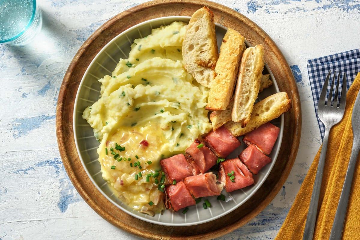 Purée beurre échalote & roulés jambon fromage