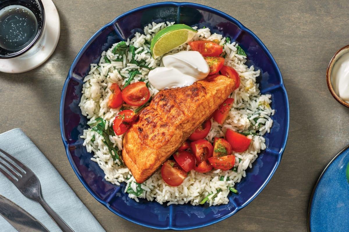 Quick Baja Salmon & Garlic Rice