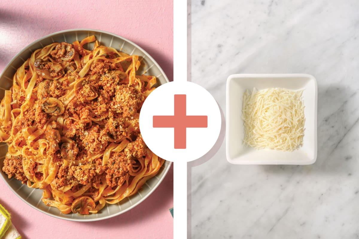 Cheesy Beef & Mushroom Linguine