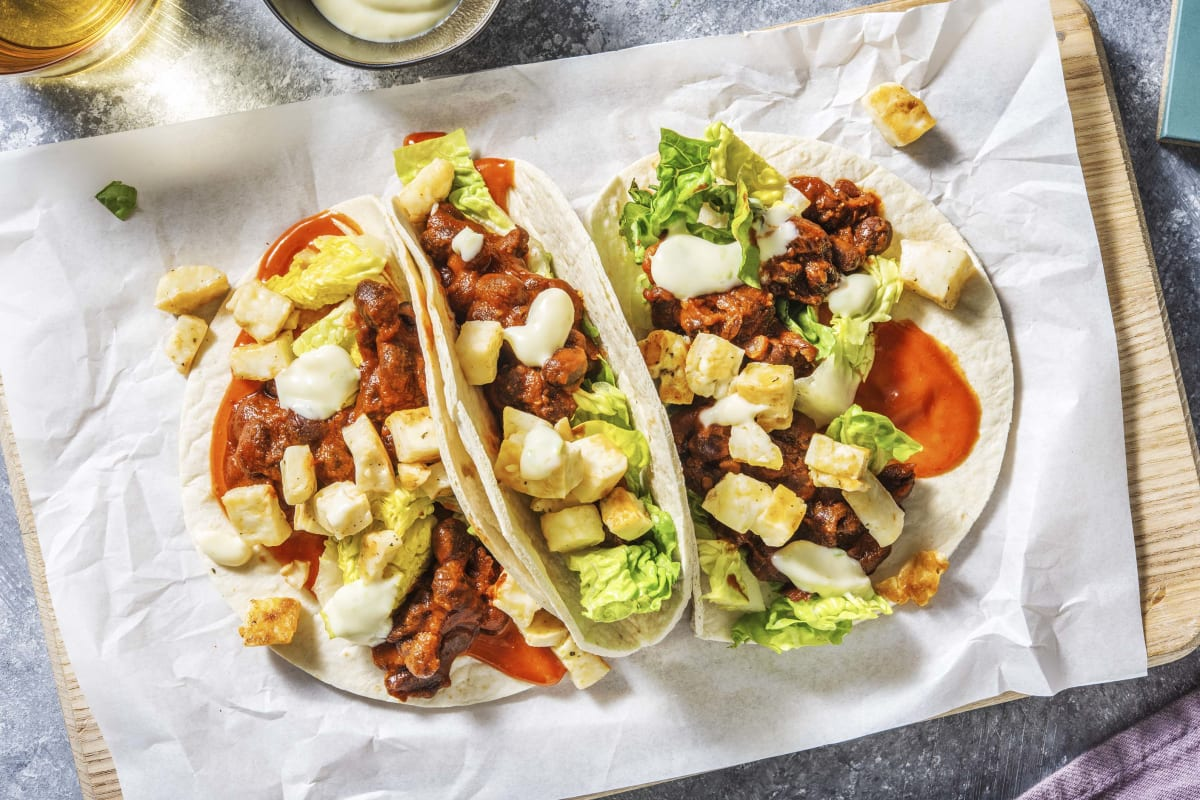 Refried Bean and Halloumi Tacos