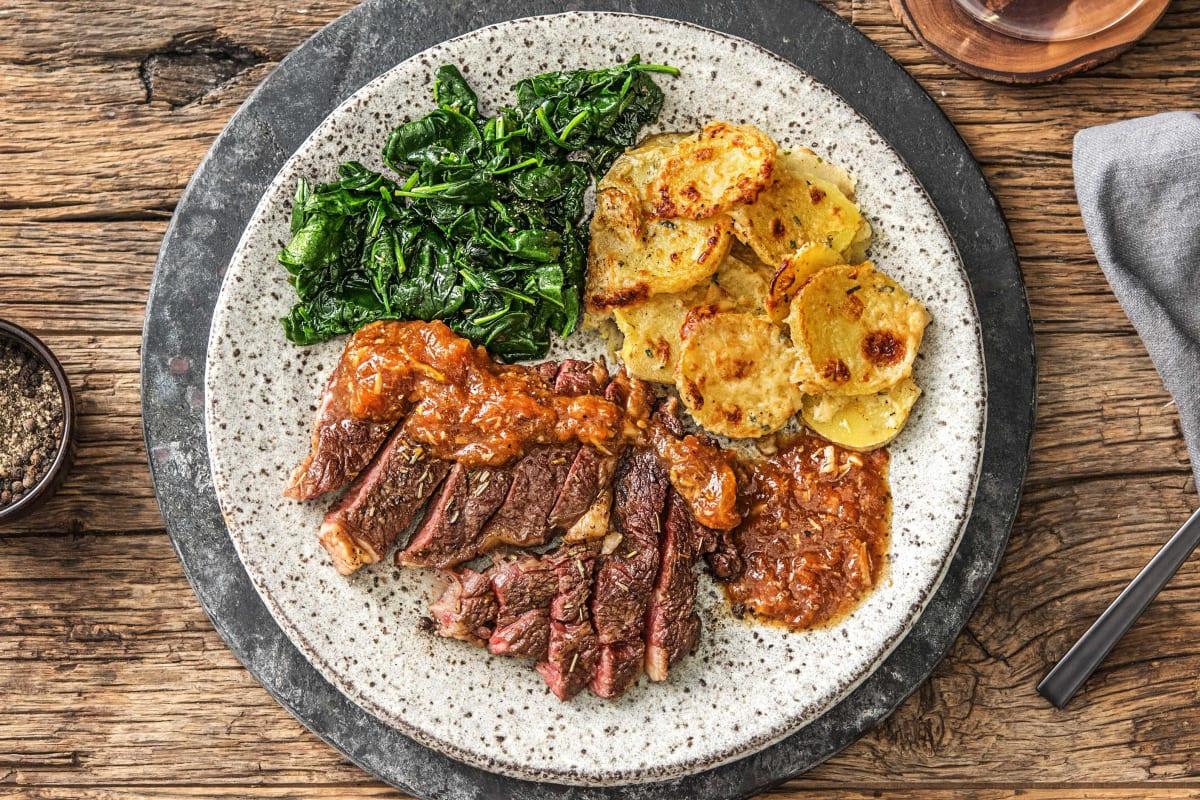 Rib-Eye Steak and Truffled Potato Gratin