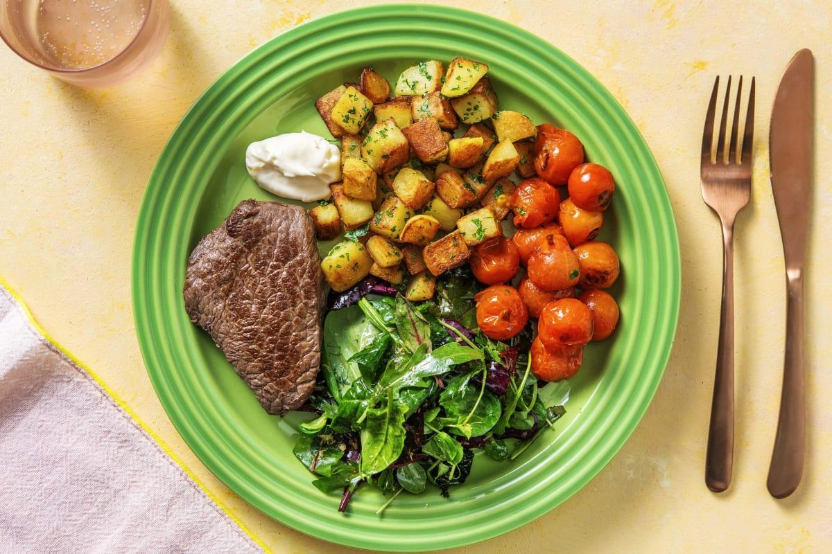 Rindersteak mit geschmorten Tomaten