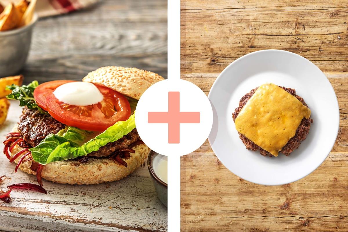 Rindfleischburger mit extra Cheddar-Patty