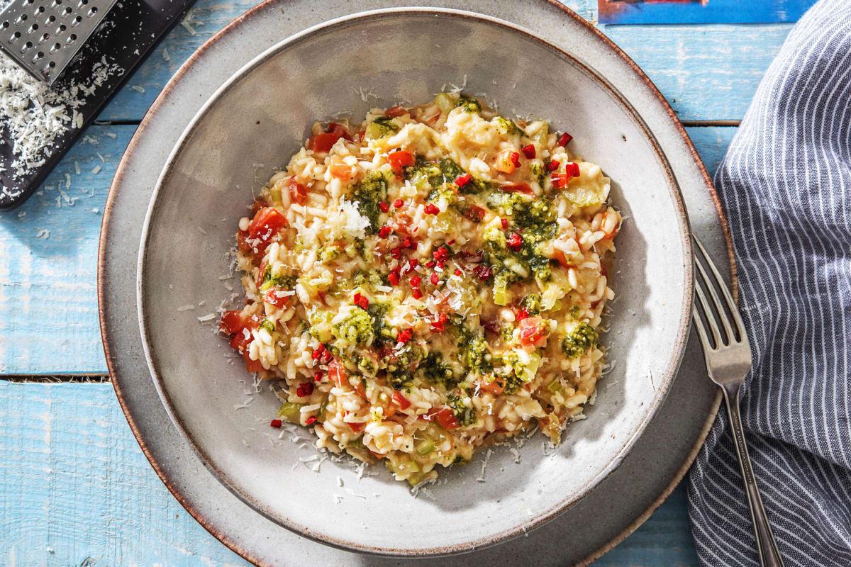 Risotto piquant aux tomates et à la mozzarella