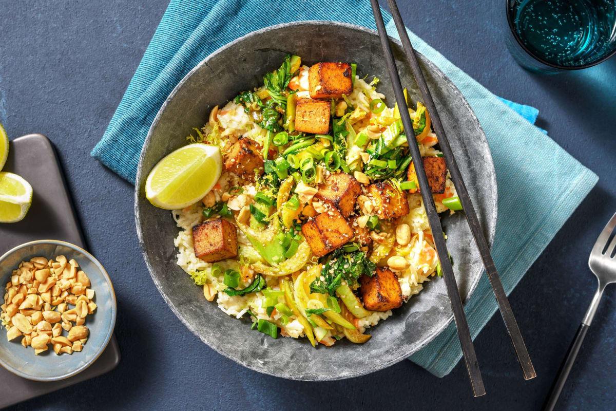 Riz au lait de coco & tofu poêlé