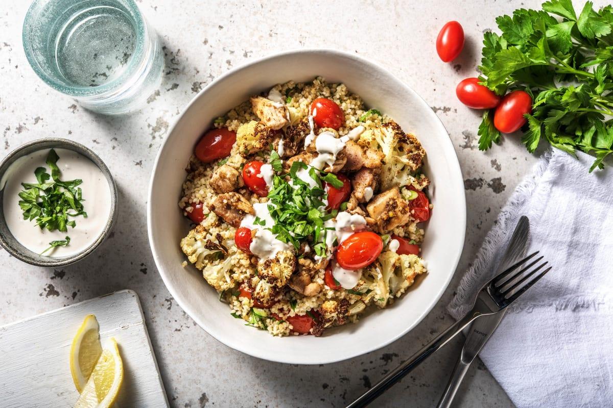 Roast Vegetable, Bulgur Wheat & Chicken Salad