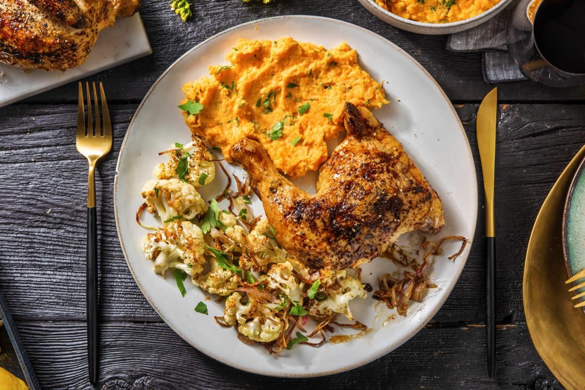 Roasted Lemon Chicken And Sweet Potato Mash Recipe Hellofresh