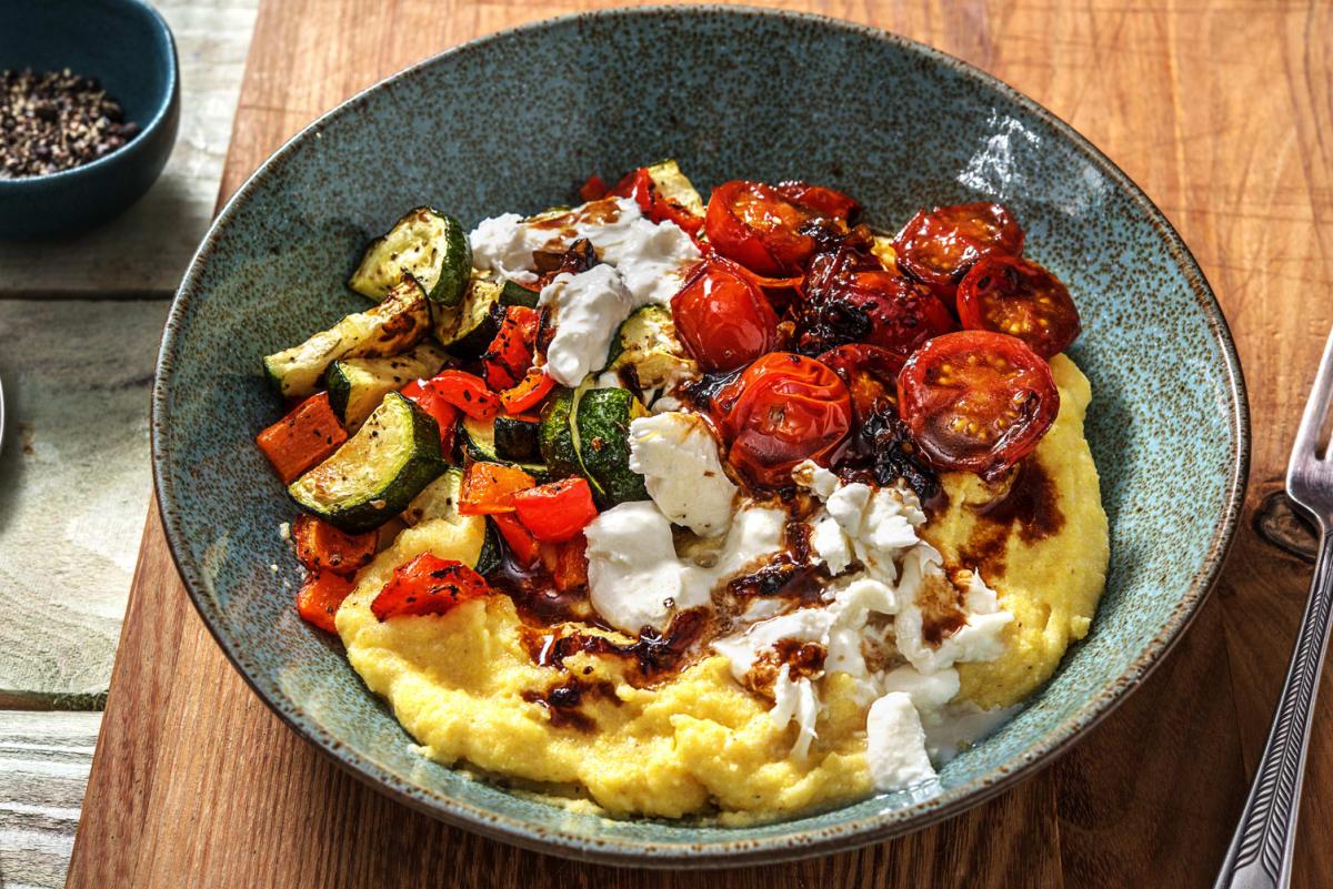 Roasted Mediterranean Veggies and Burrata