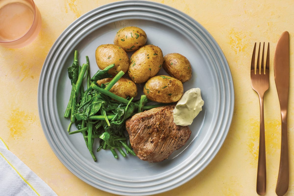 Seared Rump Steak with Potatoes & Béarnaise