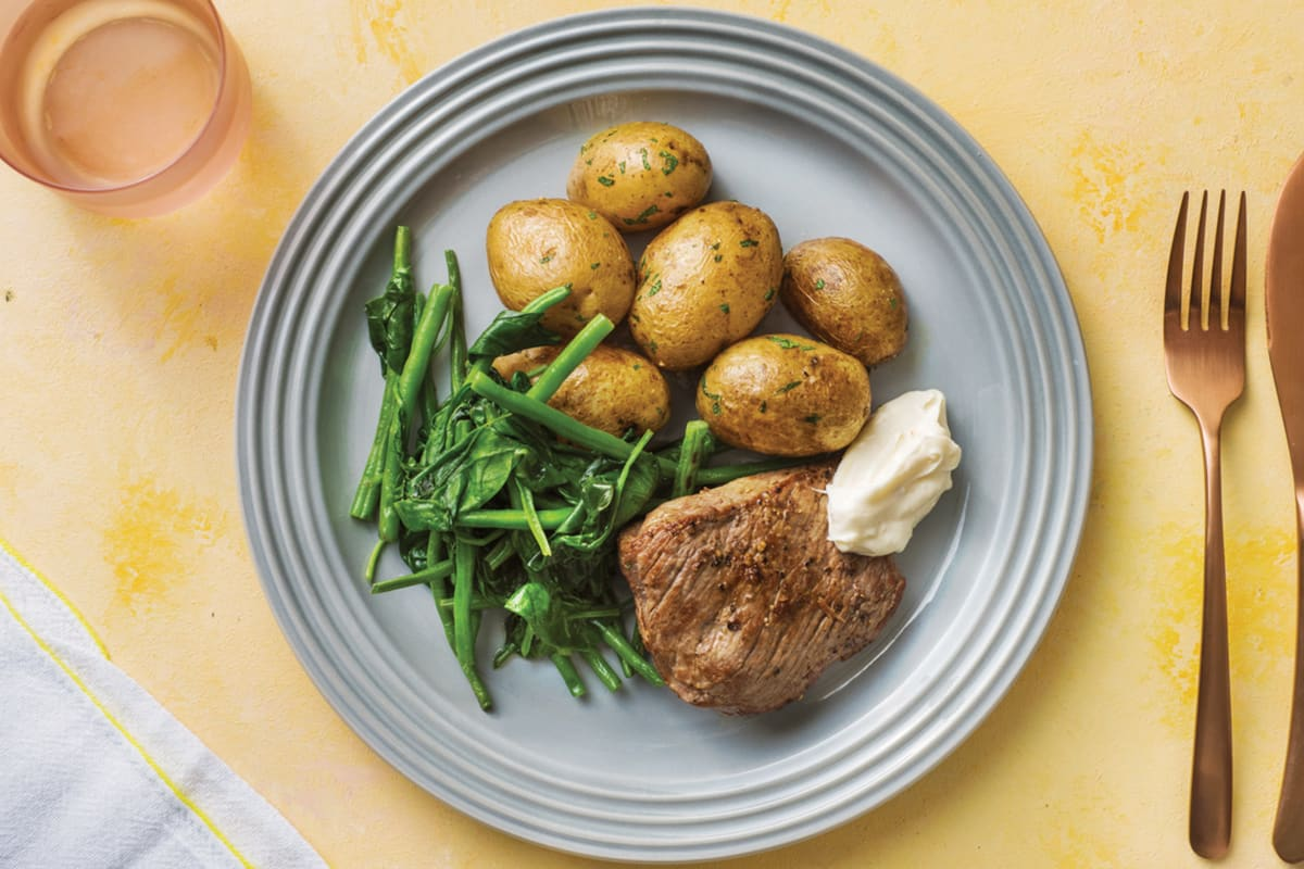Rump Steak with Chat Potatoes & Greens