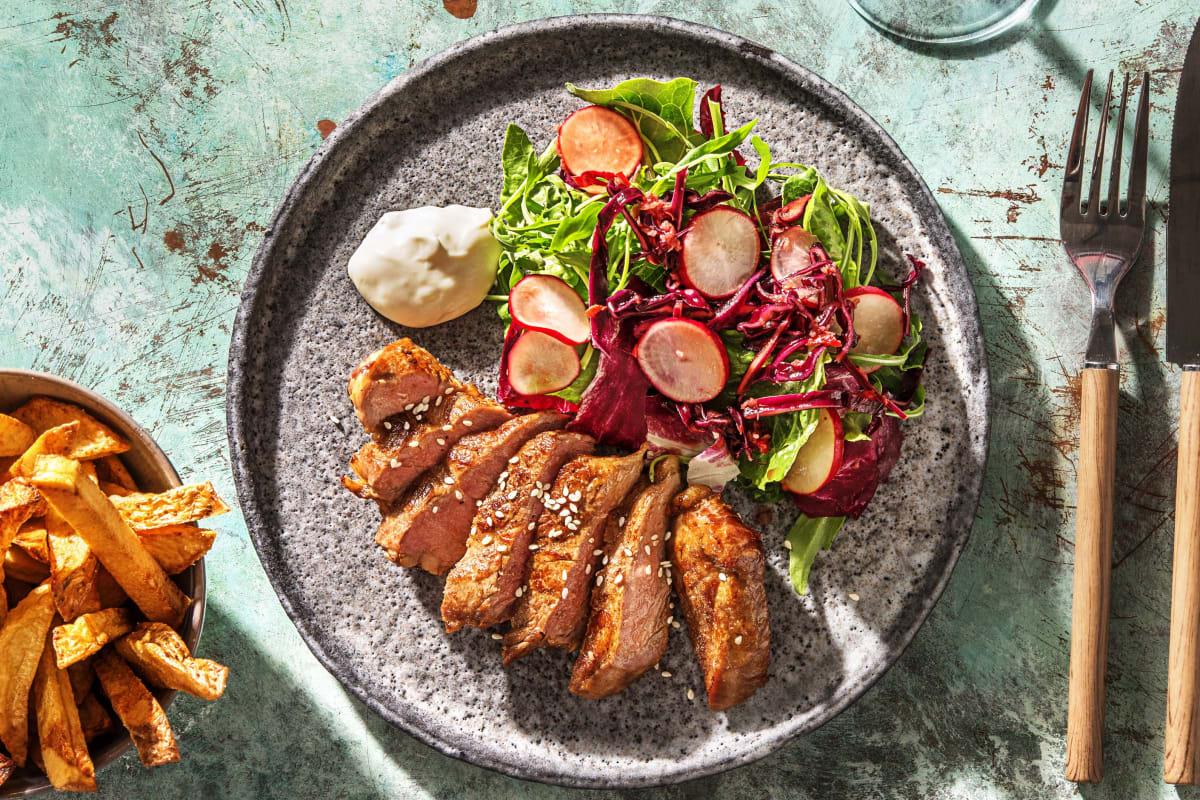 Rumsteak et salade à l'asiatique