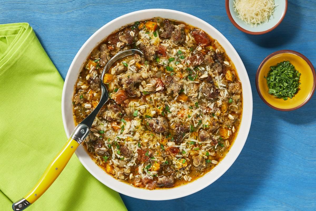 Rustic Farro & Pork Sausage Soup