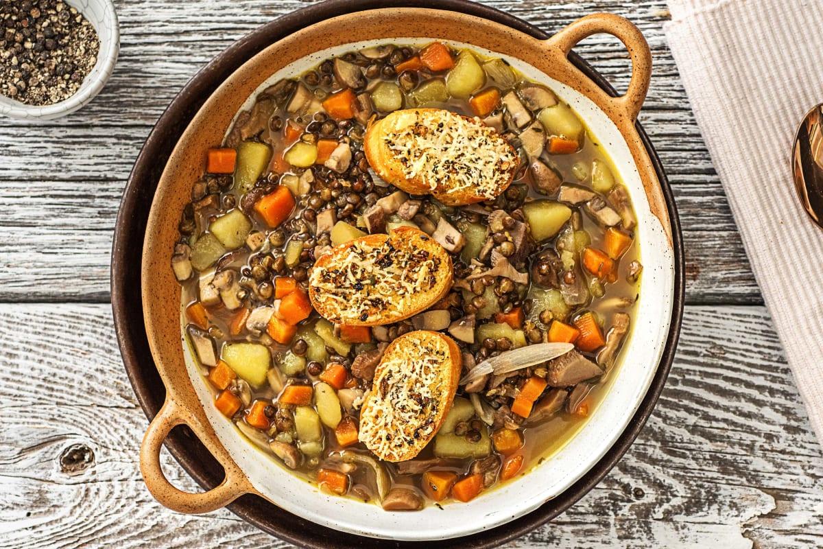 Rustic Mushroom-Lentil Soup