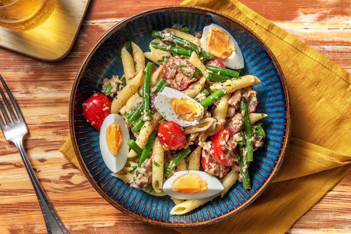 Pasta niçoise met  tonijn en sperziebonen