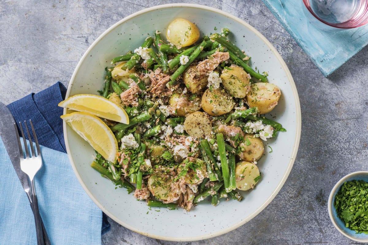Salade de thon et grenailles à la grecque