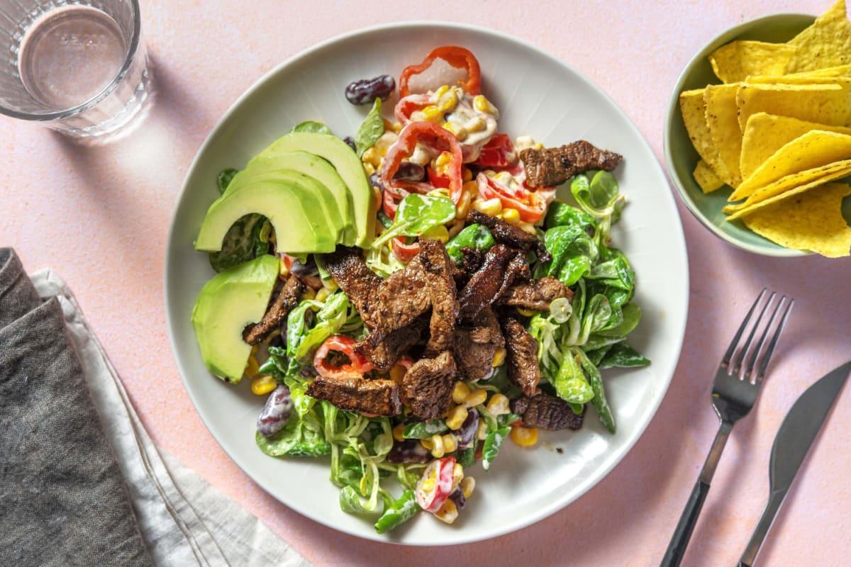 Salade mexicaine au boeuf mariné et à l'avocat