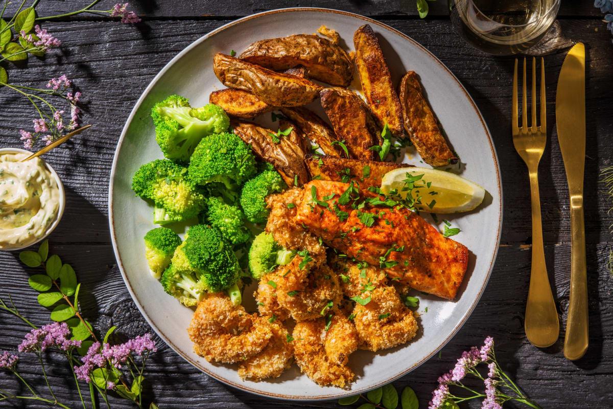 Salmon and Coconut Shrimp Feast