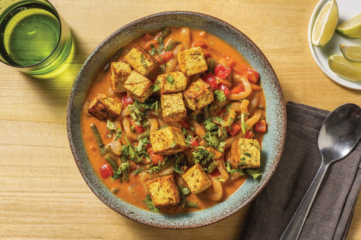 Saucy Red Curry Noodles & Spiced Tofu