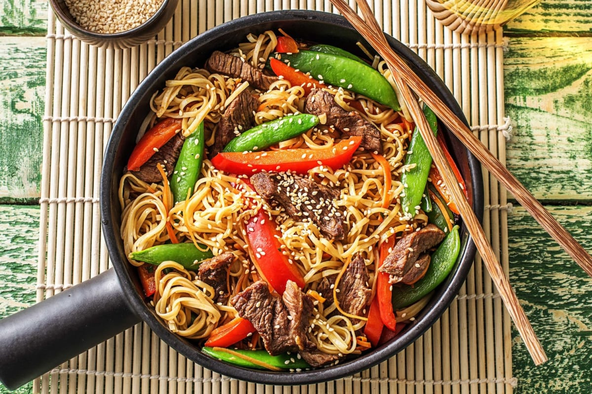 Garlic-Ginger Beef and Rainbow Veggie Stir-Fry