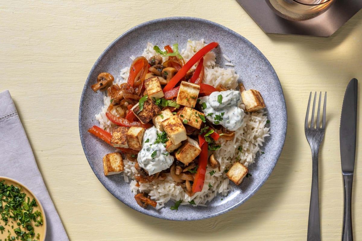 Midden-Oosters gekruide roerbak met halloumi en rijst