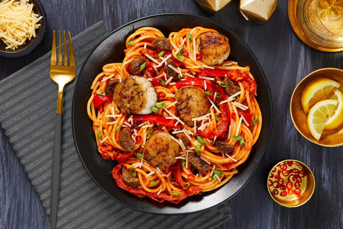 Scallops over Creamy Chorizo Spaghetti