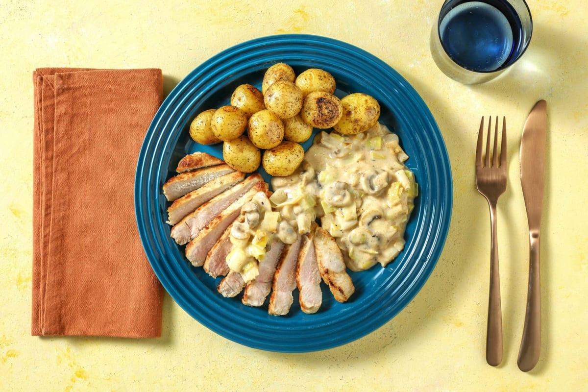 Schweinelachssteak mit rauchigen Kartoffeln