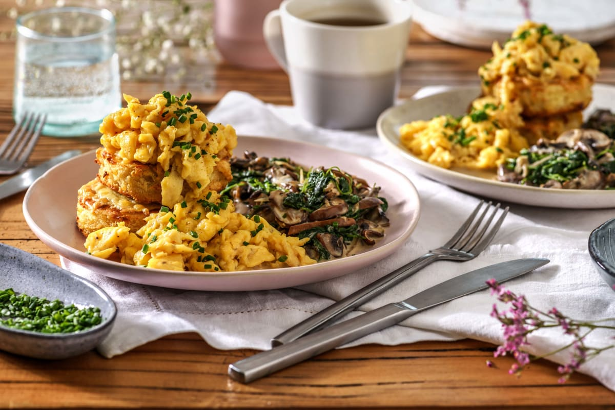 Scrambled Eggs and Cheesy Crumpets