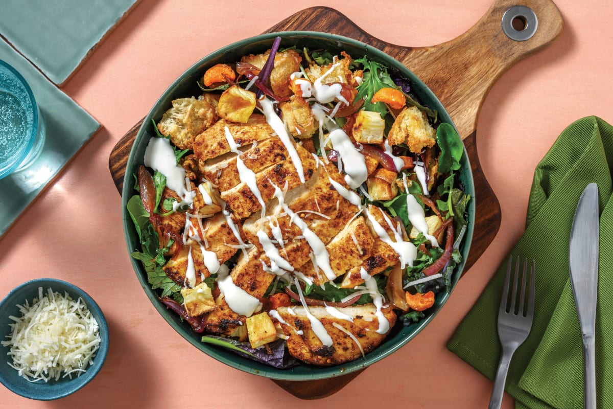 Seared Golden Chicken & Garlic Crouton Salad