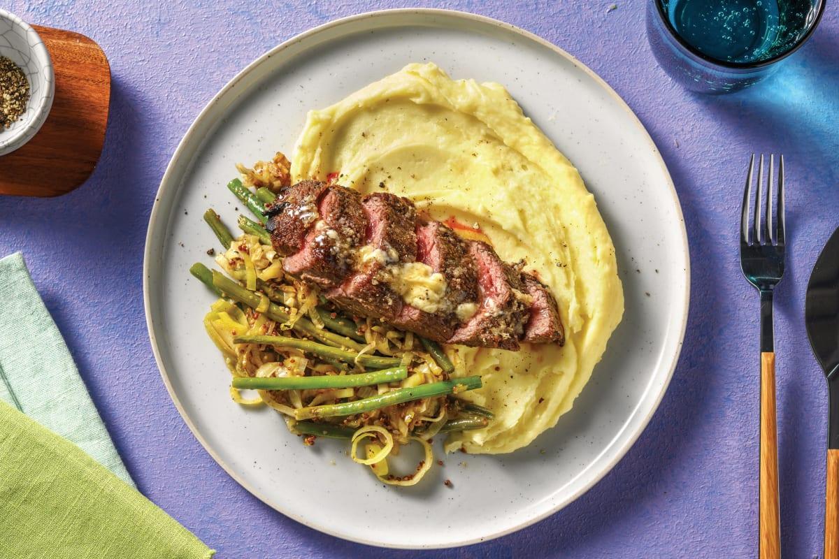Seared Steak & Mustardy Greens