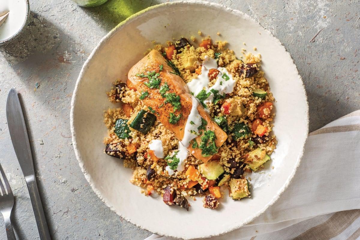 Seared Salmon & Roast Veggie Couscous