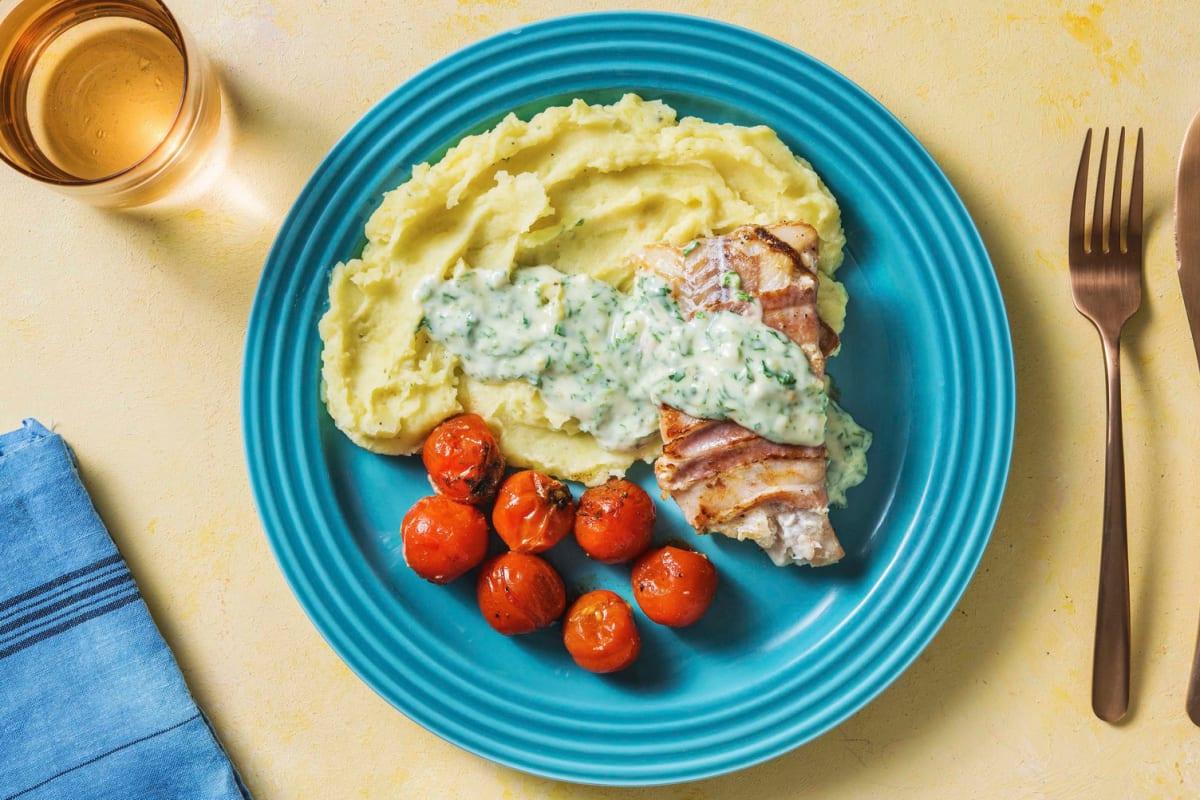 Seelachs in Bacon mit Kartoffelstampf