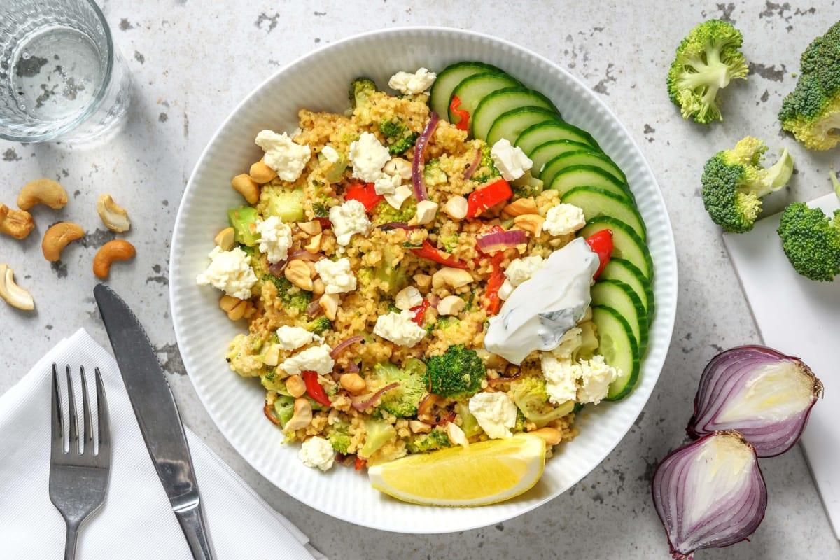 Frisse couscous met broccoli, munt en witte kaas