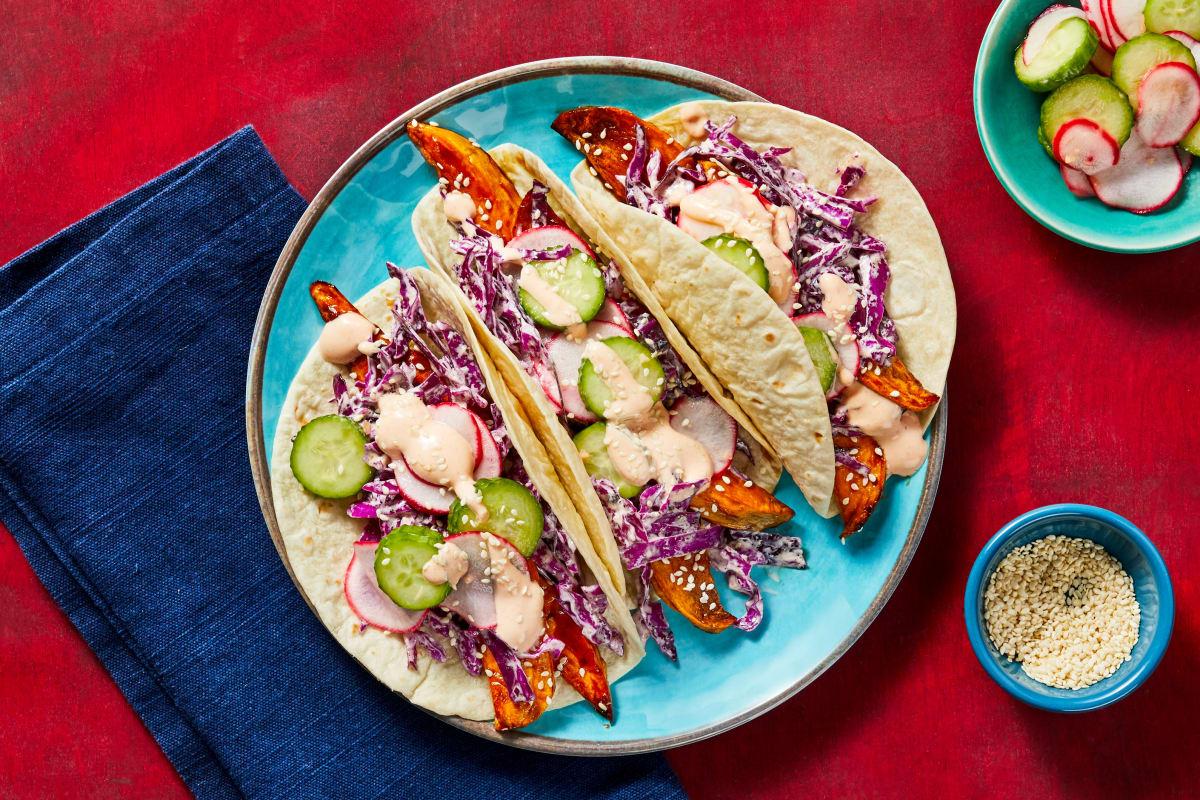 Sesame Glazed Sweet Potato Tacos