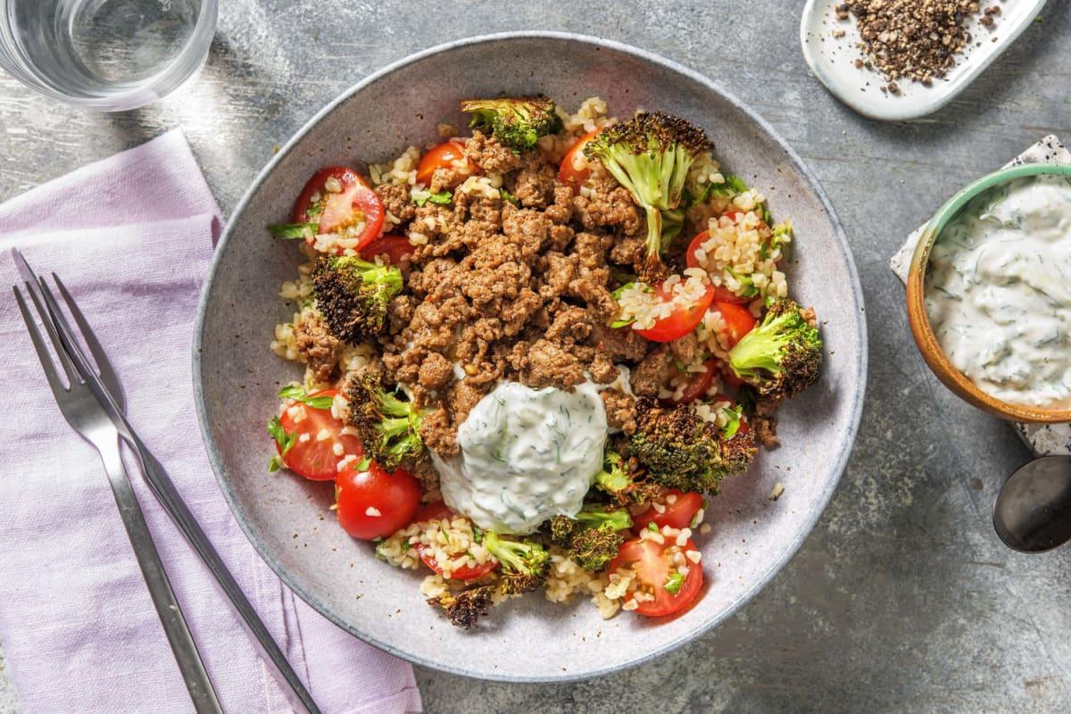 Shawarma Spiced Lamb and Roasted Broccoli