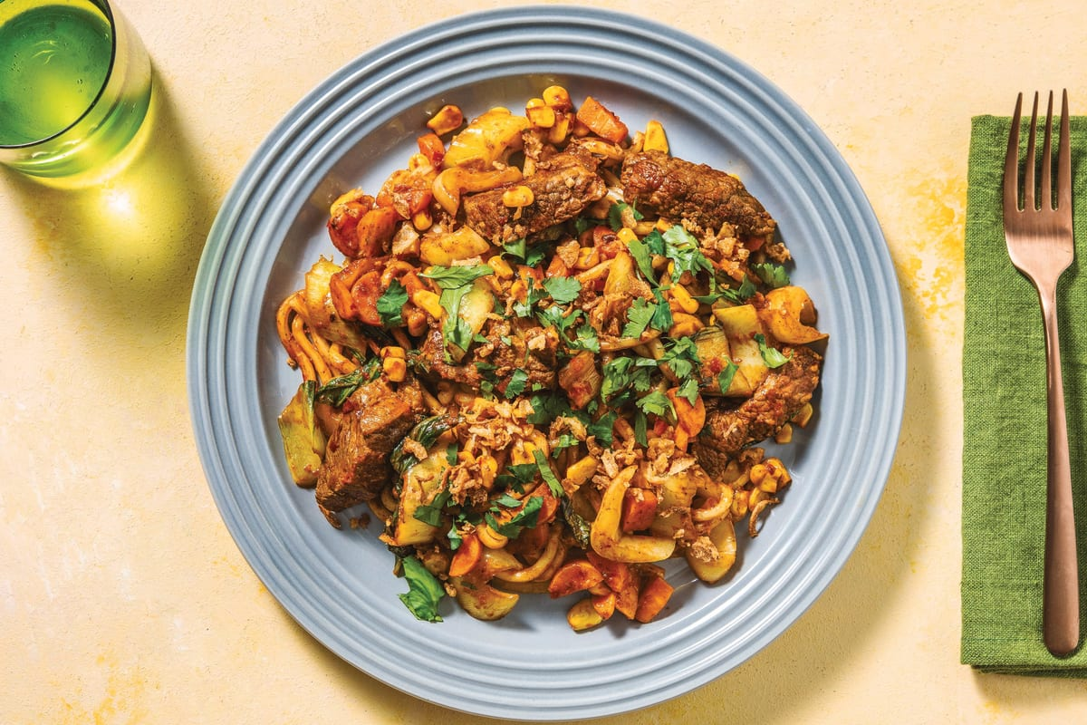 Sichuan Beef Stir-Fry with Noodles & Asian Veggies