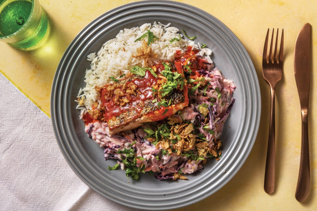 Sichuan-Glazed Salmon with Sesame Slaw & Rice