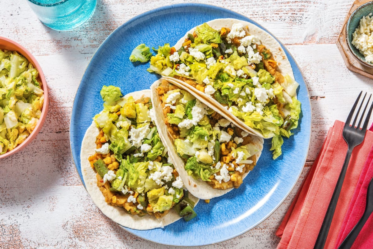 Smoky Lentil Tacos with Charred Corn and Peppers