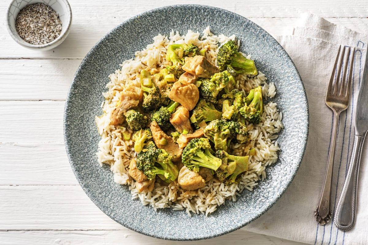 Snelle groene curry met witvis