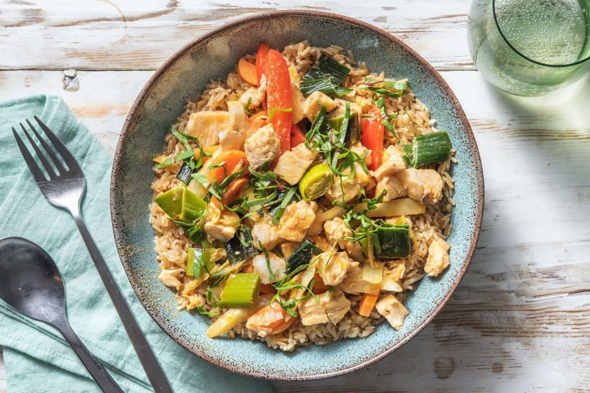 Snelle viscurry met rijst