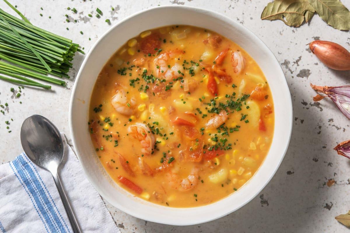 Romige aardappelsoep met garnalen