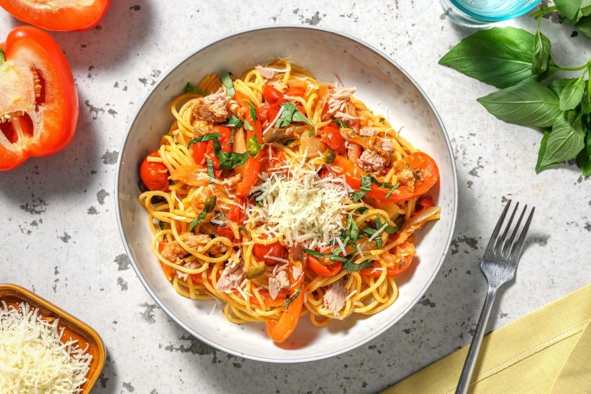 Spaghetti in tonijn-tomatensaus