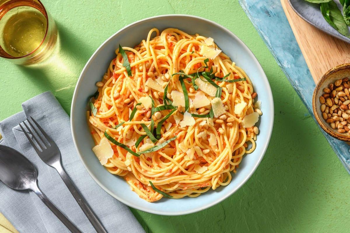 Spaghetti mit cremiger Paprikasoße