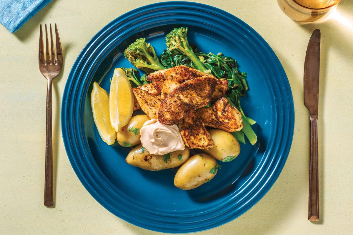 Spiced Chicken Strips & Potatoes with Smokey Aioli